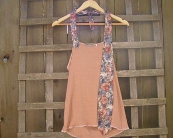 Funky Peach Halter Top/ Eco Halter Tie Top Summer Festival Tops Gear Beach Cover Up Upcycled Vintage XL Plus Size