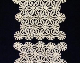 Vintage crocheted doily set, 2 cream colored lace doilies