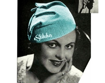 1930s Hat or Fez with Gauntlet Gloves - 2 Crochet patterns PDF 2905