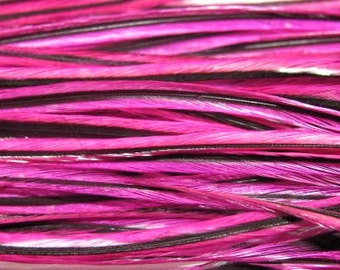 12 Long Rooster Saddle Hackles - Pink Badger ( 8 - 10 inches) Hair Extension Feathers