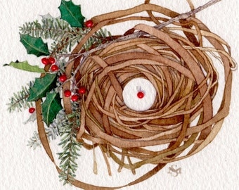 holly berries pine branch winter holiday nest watercolor painting original OOAK