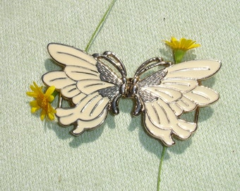 Vintage Goldtone and Ivory Butterfly Belt Buckle - FREE Shipping