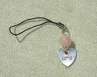 Pink Quartz Gemstone and Love Cell Phone Charm