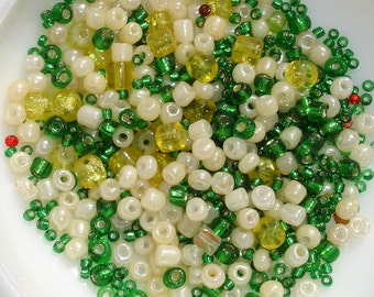 Green & White Seed Beads Lot - Jewelry Making Supply