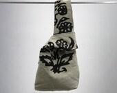 RESERVED-Handmade purse, lunchbag, or wrist bag - washable, durable - black & beige floral