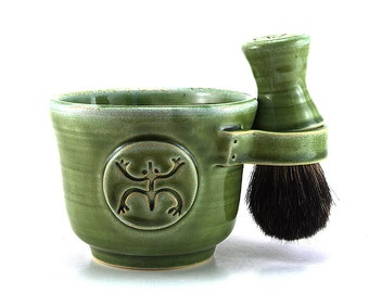Mens Shaving Set, Green Coqui Frog Shave Mug, Black Badger Hair Brush and Soap, Unique Puerto Rico Pottery Gift -- In Stock Ready to Ship