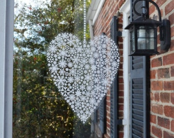 "12"" and 6"" Snowflake Heart Window decal Clings"