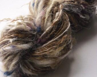 Hand Dyed Hand Spun Single Art Yarn 77 Yards / 105g Mixed Fibres
