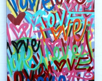 LOVE painting abstract fine art street art acrylic spray paint best valentines gift hearts