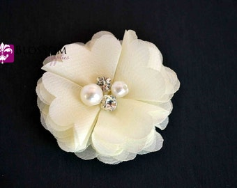 IVORY Chiffon Flowers - The Anna Collection - Petite Chiffon Flowers with Pearl and Rhinestone Centers - Headband Flower - DIY Bouquet Cream