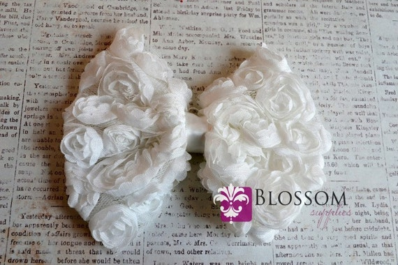 1 Large White Bow - The Rose Bow Collection - Large Rose Bow - DIY Bow Headband - shabby frayed bows