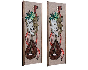 Vintage Gravel Art, Mid Century Modern Comedy Tragedy Wall Hangings