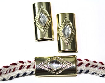 4 PCS Gold Covered  Buckles with Rhinestones