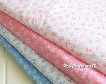 Bow Blue Fabric Pink Bow Fabric,Shabby Chic Bow Fabric,Aqua Bow Cotton,Green Bow Cotton Fabric 1/2 Yard(QT323)