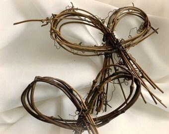 Rustic Twig Bows For Wedding Bridal Shower, 12pcs