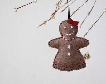 Nikkie's Felt Gingerbread Girl Christmas Ornament