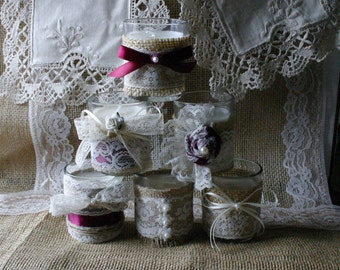 WEEKEND SALE Burlap and lace wedding tea candles, Victorian wedding centerpiece,