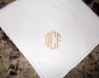 Embroidered Mens personalized Handkerchief circle monogram Father's Day gift