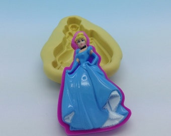 Princess Cinderella  Flexible Silicone Push Mold for Polymer clay,  Food,Sweets, Resin,Wax plaster
