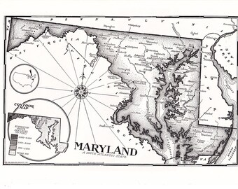 old map of Maryland, a hand drawn map in black and white, a page from a 1955 encyclopedia