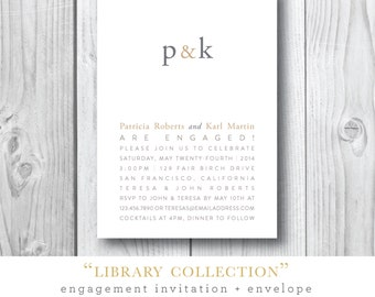 Library Collection Engagement Party Invitations