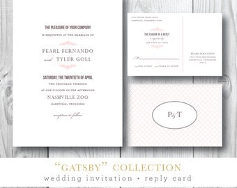 Gatsby Collection | Wedding Invitation and Additonal Suite Pieces | Printed or Printable by Darby Cards