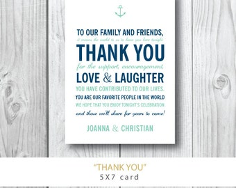Nautical Collection | Thank You with Anchor Wedding Welcome Card | Printed or Printable by Darby Cards