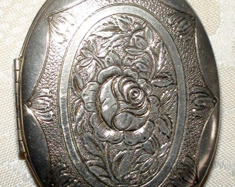 Silver Rose Oval Metal Hinged Locket Pendant for Your Next Jewelry Project