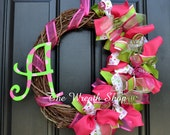 Summer Wreath with Monogram in Pink and Green - Summer Wreath - Spring Wreath - Monogram Wreath