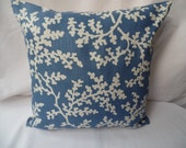 "16"" x 16"" Handmade contemporary, modern blue and cream leafed, cushion cover, pillow, pillow case, scatter cushion."