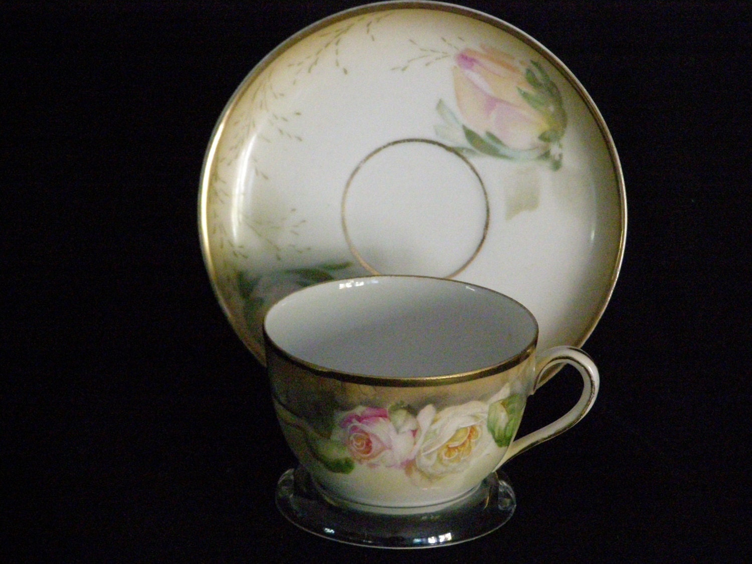 Antique Prov Sace Es Germany Tea Cup And Saucer Roses Floral