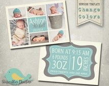 Boy Baby Announcement PHOTOSHOP TEMPLATE - Baby Boy 001
