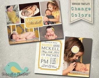 Newborn Baby Announcement PHOTOSHOP TEMPLATE - Baby Girl 001