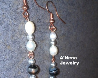 """Earrings  Pearl, Onyx, 925 Silver beads and Copper""""Jatunyana"""" (grow in Quechua)"""