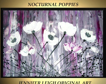 Original Large Abstract Painting Modern Contemporary Canvas Art Black White Purple POPPY Flowers  36x24 Palette Knife Texture Oil J.LEIGH