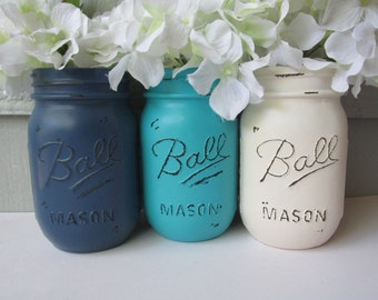 Painted and Distressed Ball Mason Jars- Navy, Light Turquoise and Cream Flower Vases, Rustic Wedding, Centerpieces