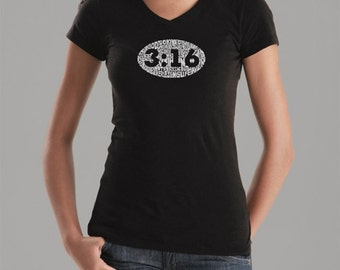 Women's V-neck T-shirt - Created using the verse John 3:16