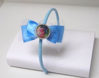 Handmade BLUE RIBBON BOW resin pendant art headband