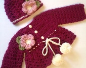 Handmade baby sweater and hat baby gift fall sweater