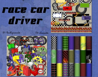 My Little Race Car Driver Digital Scrapbook Kit