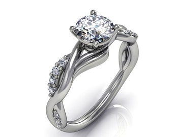 platinum forever one moissanite Diamonds   engagement ring in 14kt white gold,style 123WDM