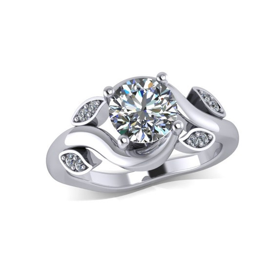 Floral design moissanite and diamonds engagement by fabiandiamonds