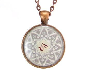 OM Pendant Necklace Yoga Necklace Antique Copper Pendant