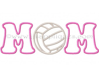 Volleyball MOM Embroidery Applique Design  - Volleyball MOM Applique for the 4x4, 5x7, 6x10 hoops - Instant Download