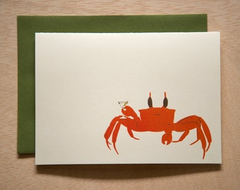 Crab Drink Martini -  Blank Card