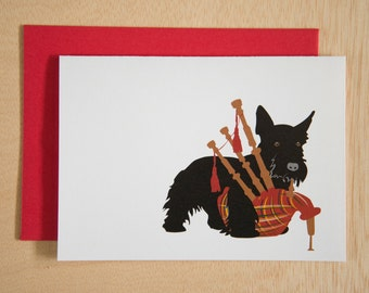 Scottie Dog playing a the bagpipes