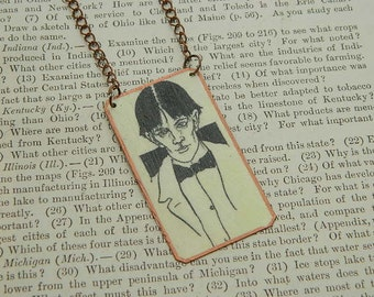Beardsley necklace Self Portrait Aubrey Beardsley jewelry mixed media jewelry