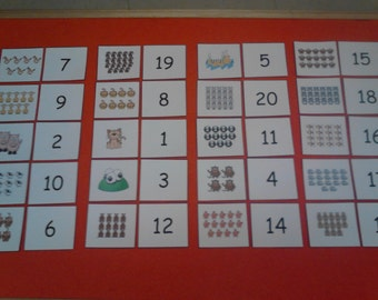 Numbers / Counting Set for Felt Board OR Laminated Flash Cards - Preschool Learning - Kindergarten - Educational Toys, Montessori Toys, Kids