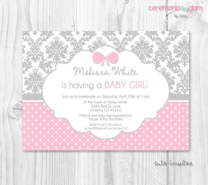 grey damask pink polka dot girl baby shower invitation girly