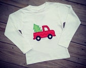 Boys Truck with Christmas Tree Shirt